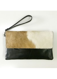 Alilia The Label Lilly Cow Hide Leather Clutch
