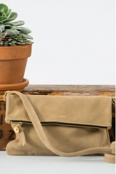 The Goods Co Suede Cross Body Bag - Camel