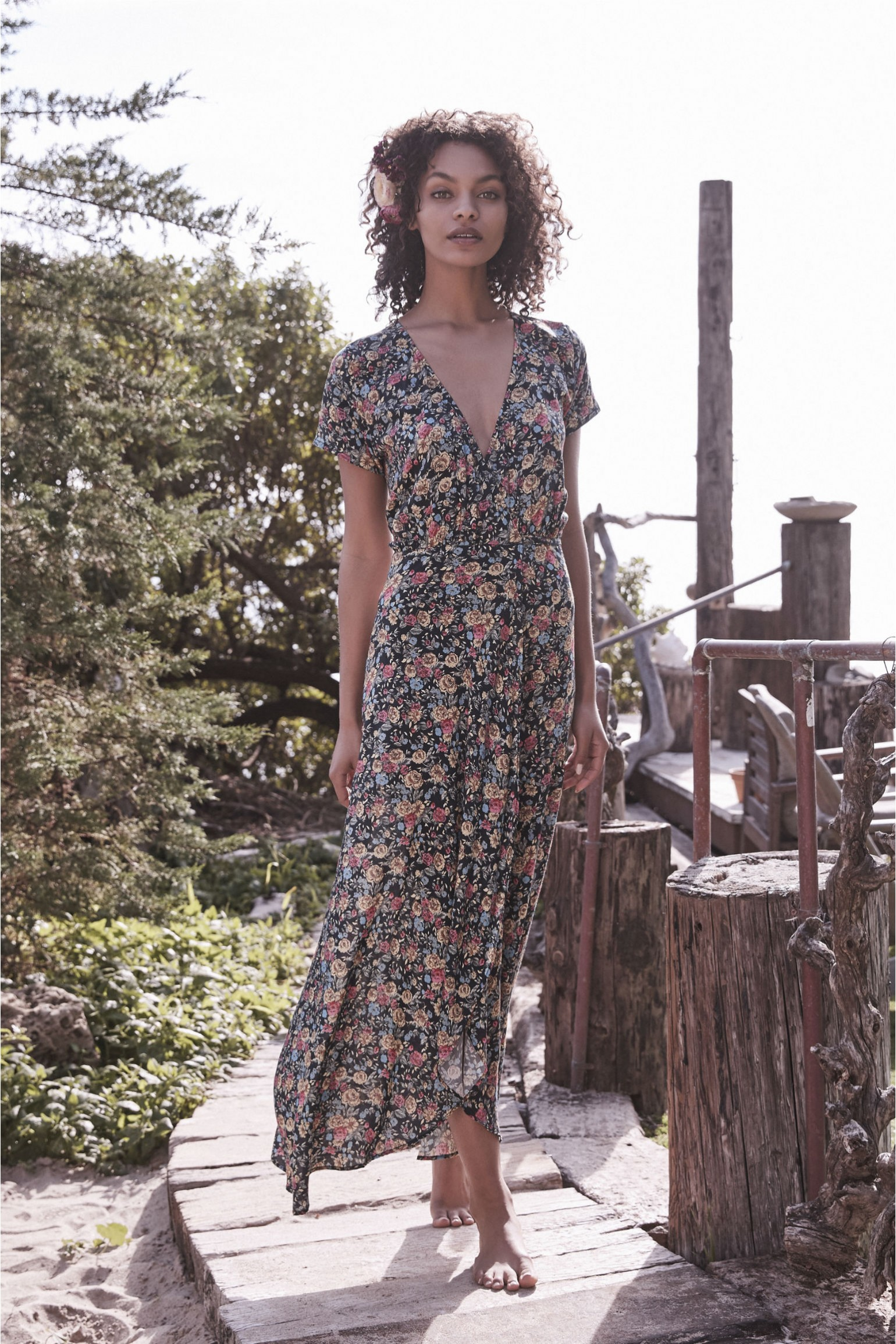 Auguste The Label Wild Rose Maxi Wrap Dress