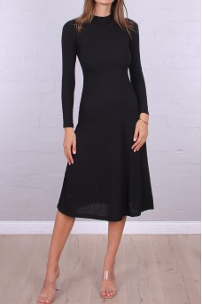 Basic Black Rib Midi Dress