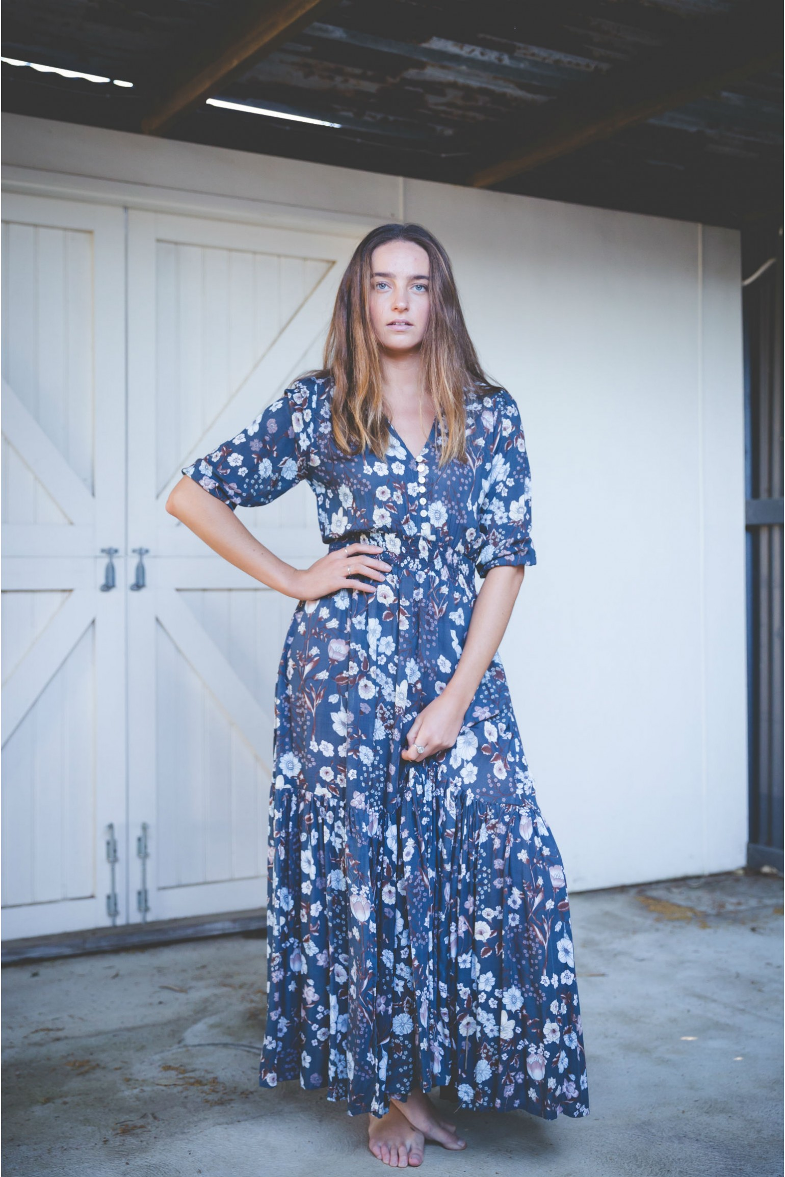 Blue Floral Jazzy Dress