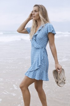 Auguste The Label Polly Frill Wrap Mini Dress