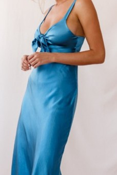 Tie Up Satin Midi Dress