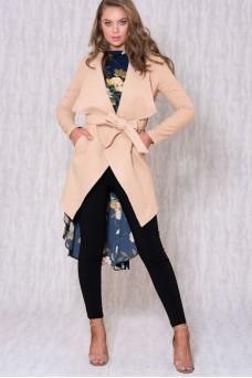 Wool Wrap Coat with Tie