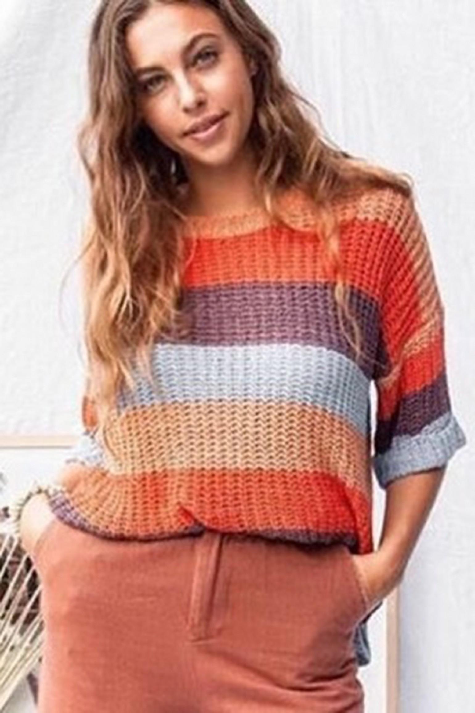 Little Lies Open Weave Stripe Knit
