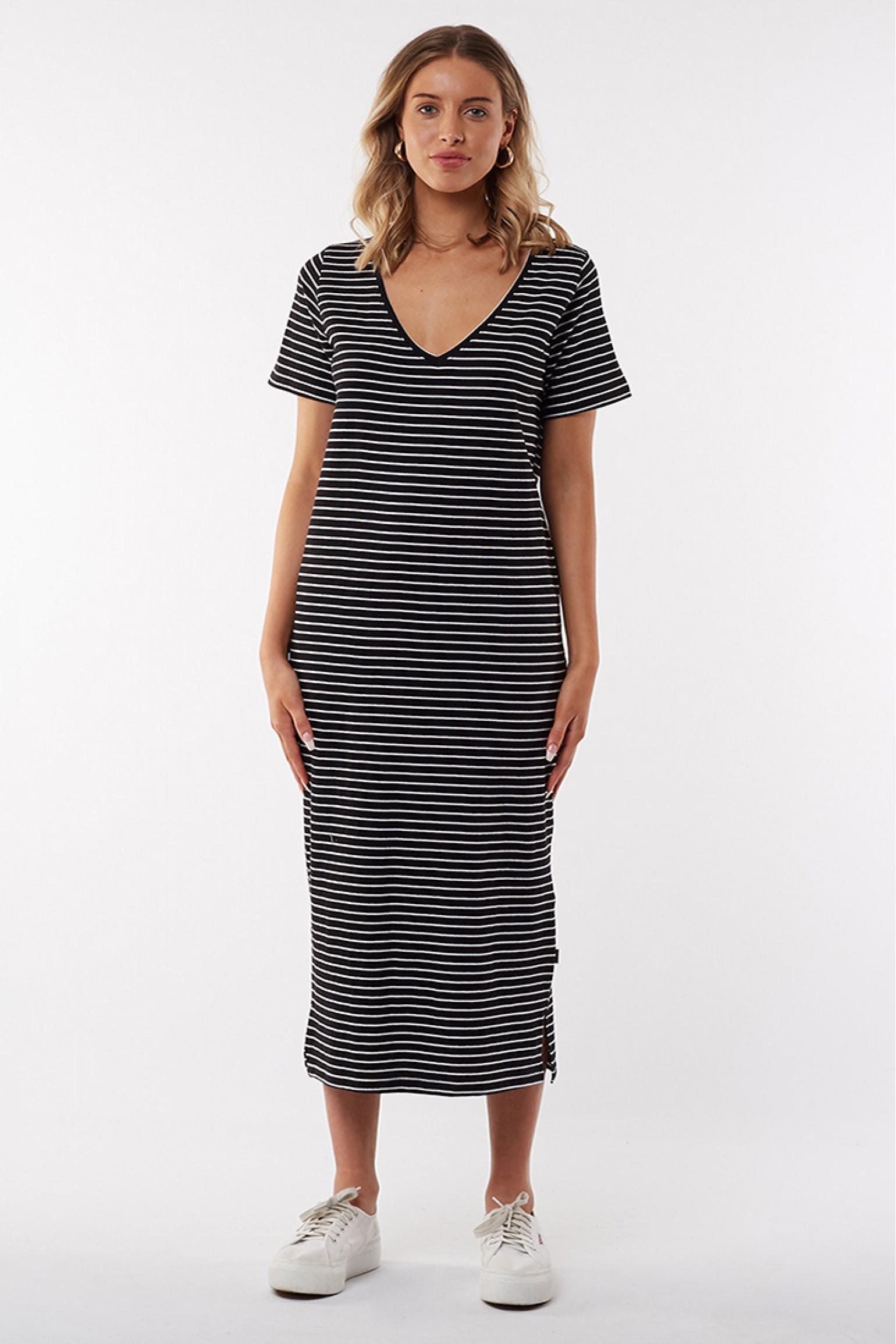 Silent Basics Notch Midi Dress Stripe