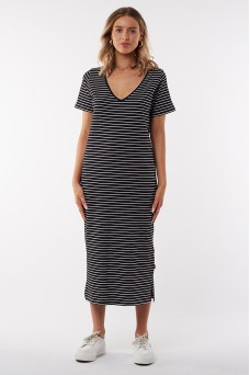 Silent Basics Notch Midi Dress Stripe