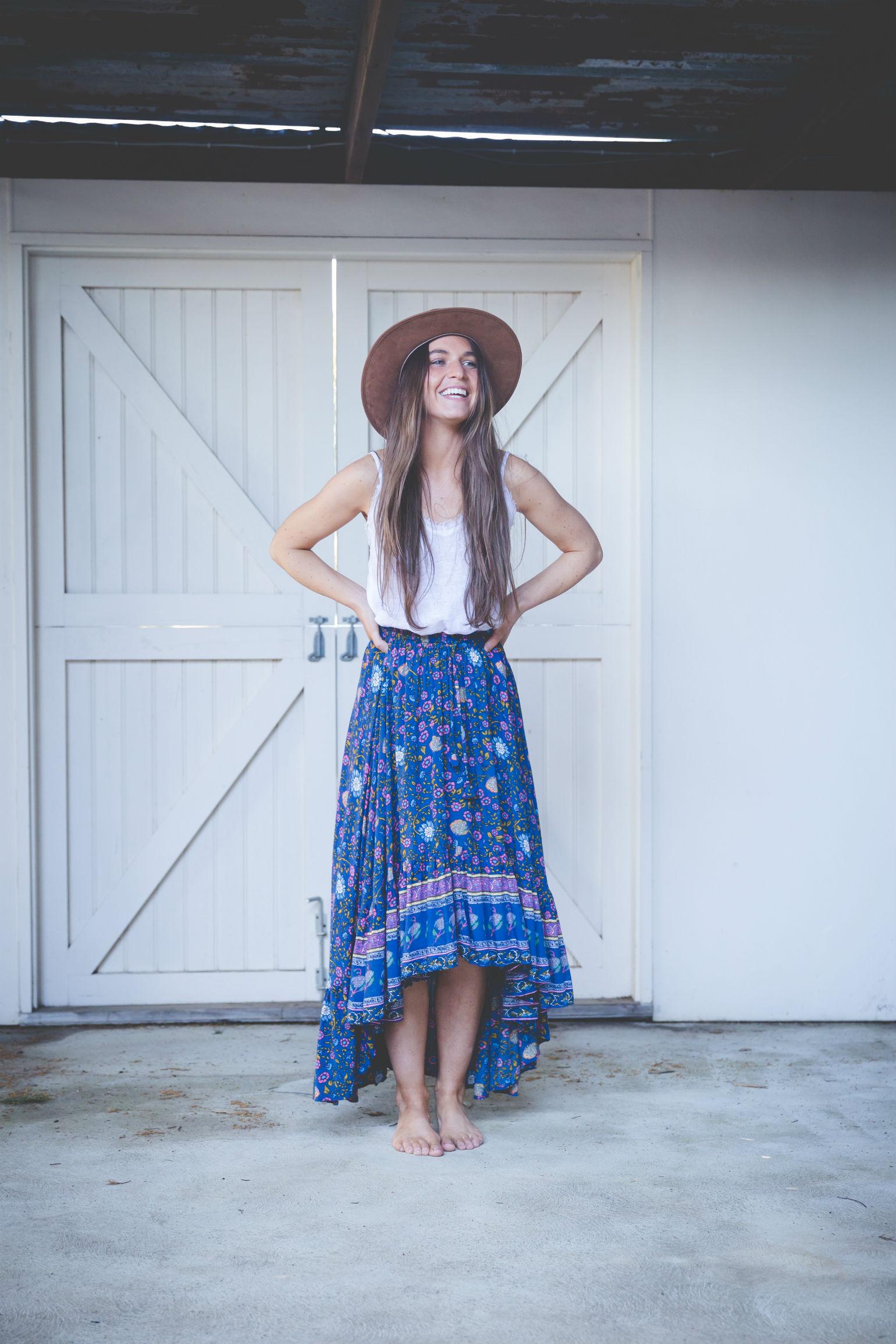 Blue Garden Floral Flamenco Skirt