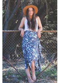 Blue Floral Wrap Skirt