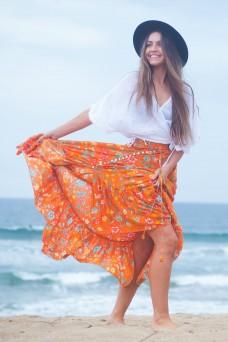 Orange Floral Maxi Skirt