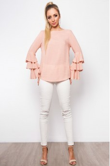 Blush Layered Bell Sleeve Top
