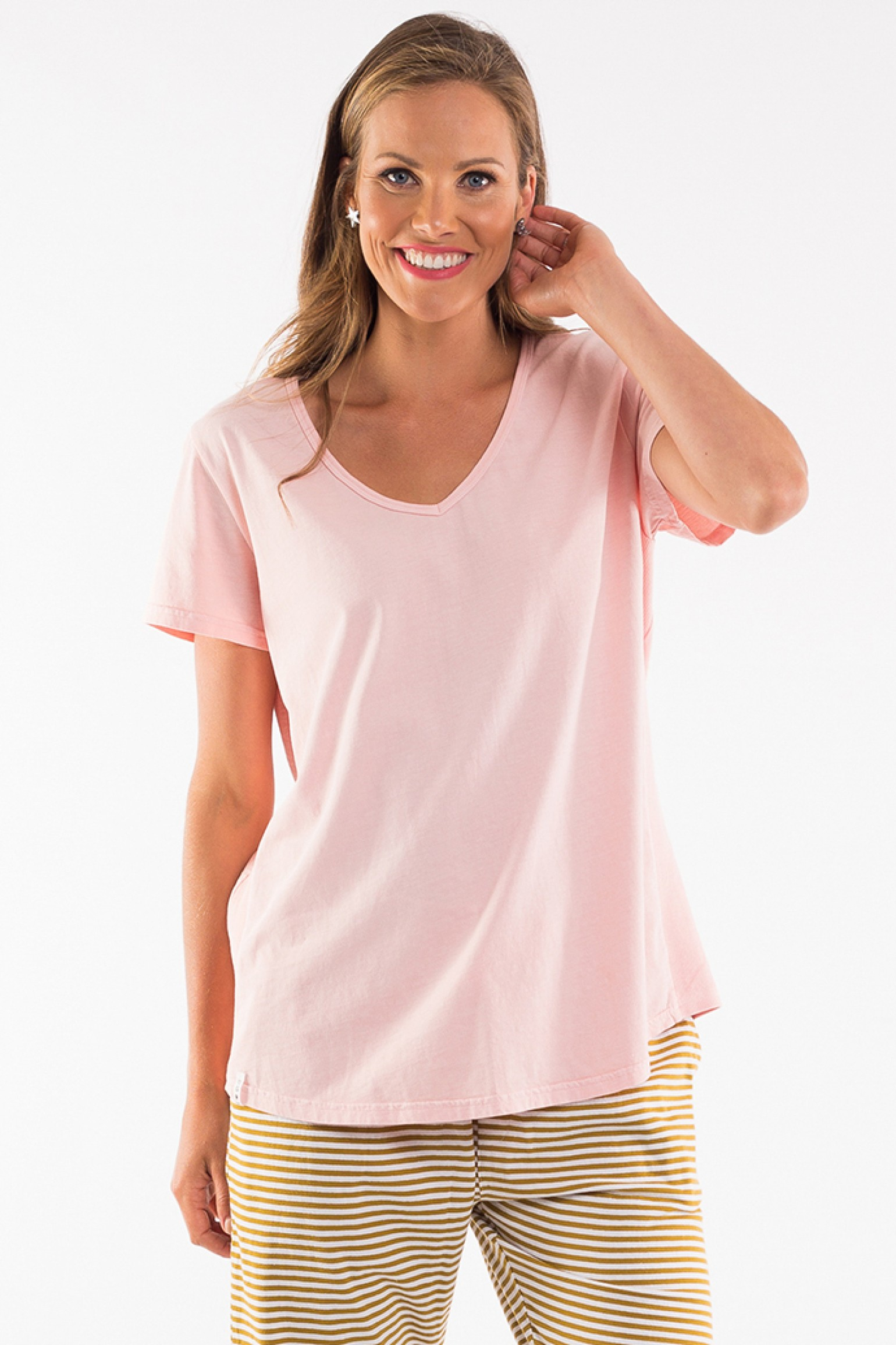 Elm Fundamental Rib V Neck Pink