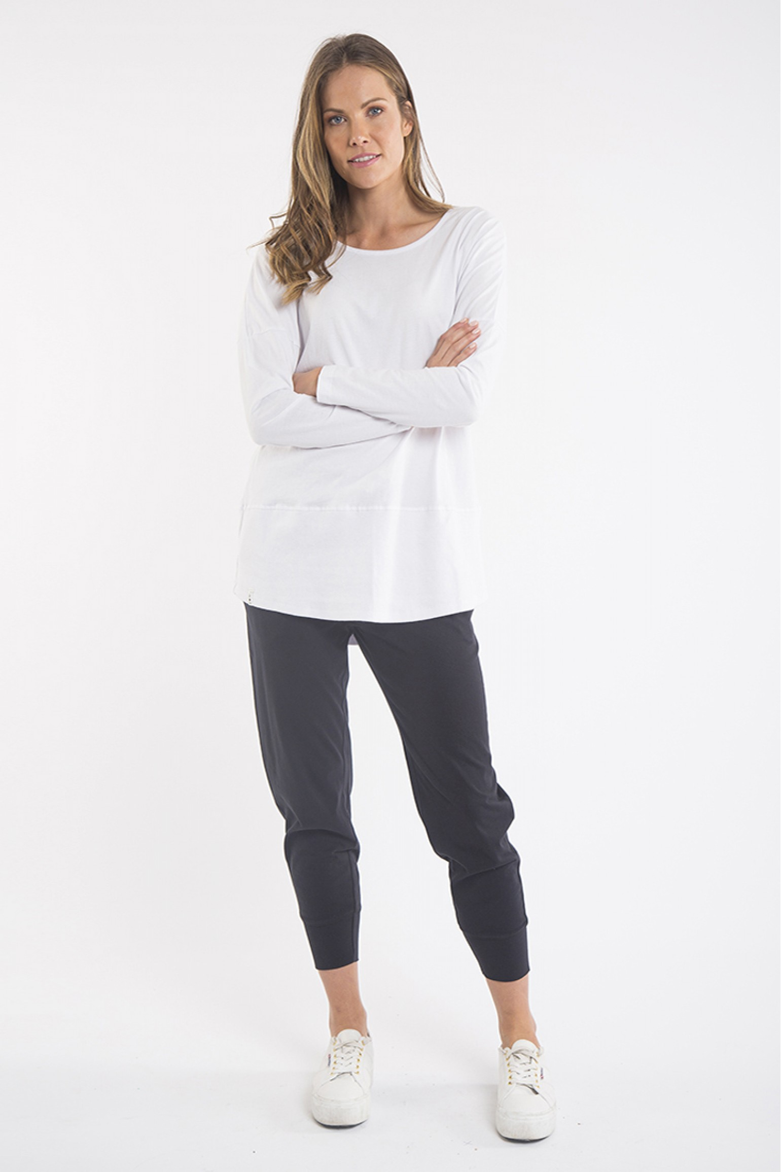 Elm Fundamental Ribbed Long Sleeve Tee White