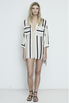 Faithfull The Brand Baia Retro Stripe Shirt Dress