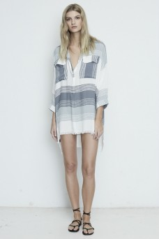 Faithfull The Brand Baia Verde Stripe Shirt Dress