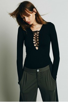 Free People Seamless Lace Up Layering Top