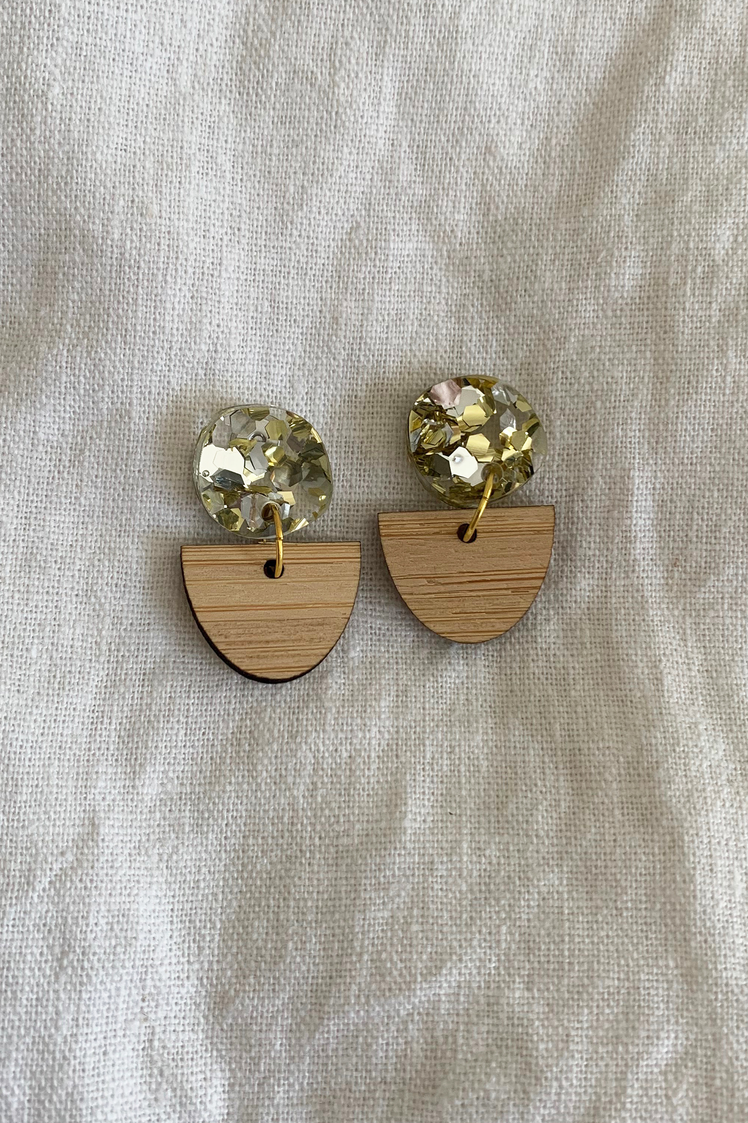 Hey Ronnie Half Wooden Oval Glitter Circle Two Piece Dangle Earrings