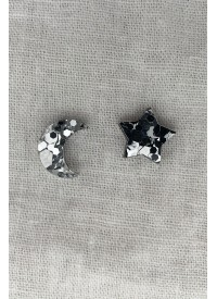 Hey Ronnie Star and Moon Chunky Silver Glitter Earrings