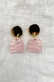 Hey Ronnie Pale Pink Gold Circle Two Piece Dangle Earrings
