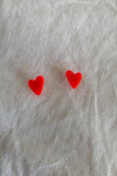 Hey Ronnie Neon Red Heart Earrings