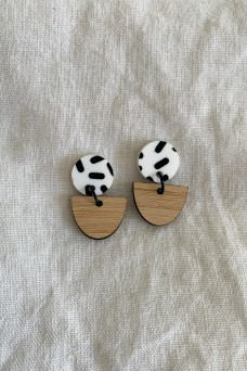 Hey Ronnie Half Wooden Oval Two Piece Dangle Earrings