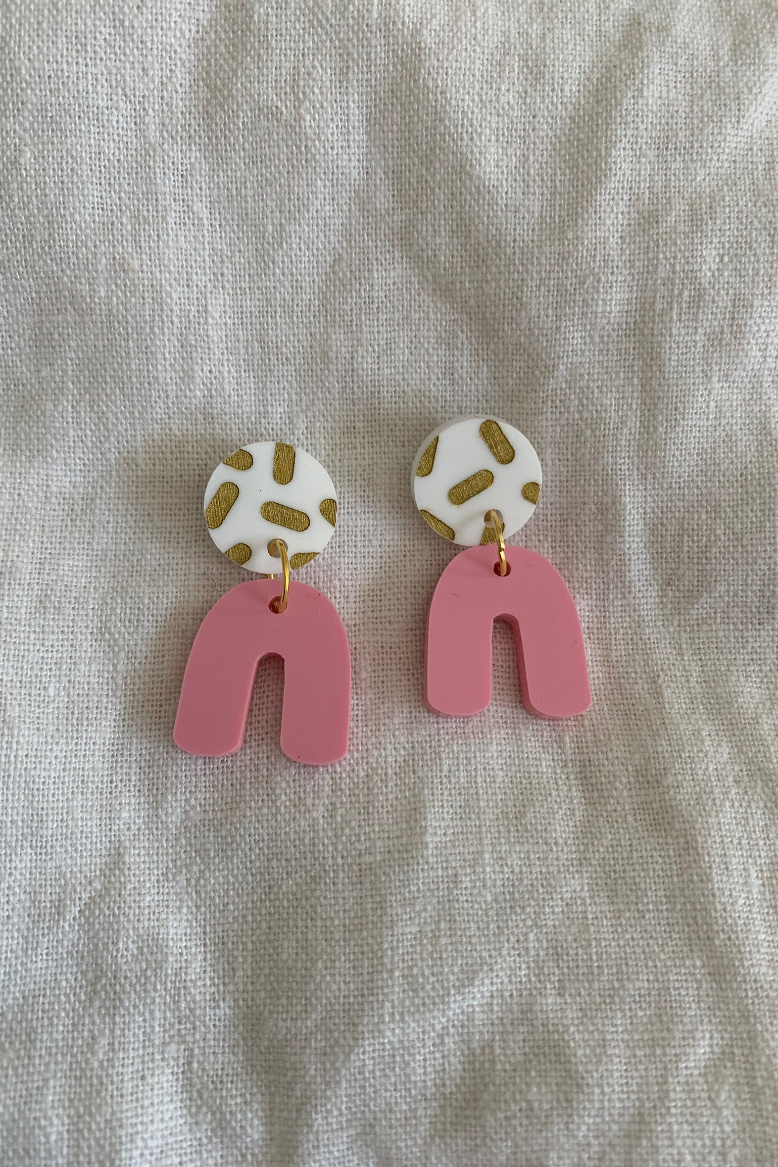 Hey Ronnie Two Piece U Pink Dangle Earrings