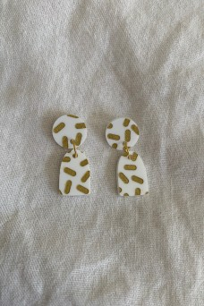 Hey Ronnie White Golden Sprinkles Two Piece Dangle Earrings