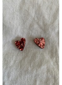 Hey Ronnie Chunky Pink Glitter Heart Earrings