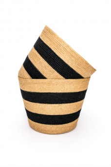 Jute Bin - Natural with Black Stripe