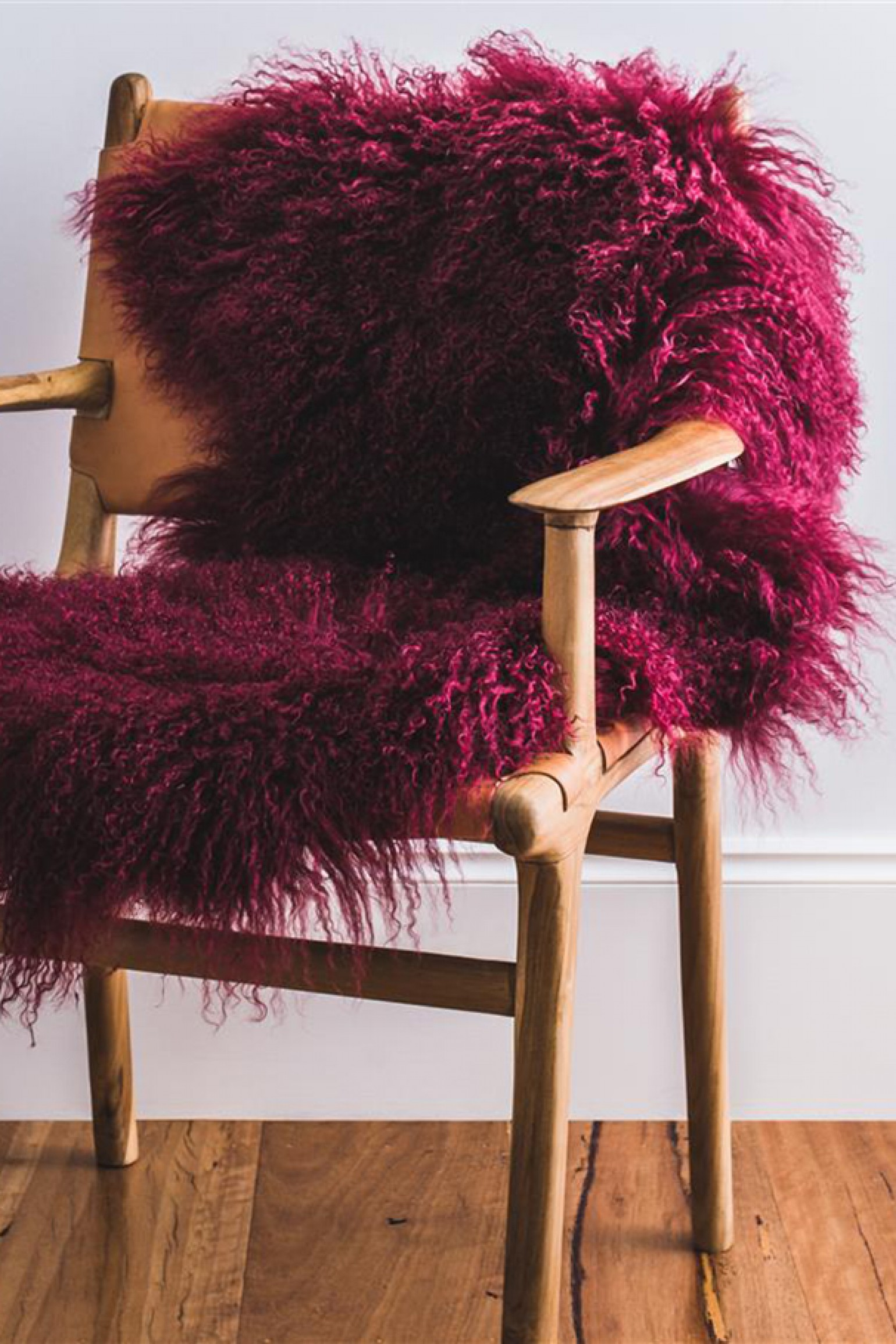 Hides of Excellence Mongolian Sheepskin Rug Wine